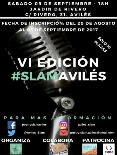 6º Poetry Slan Avilés | El Jardín de Rivero | Avilés | 09/09/2017 | Solo 10 plazas | Cartel