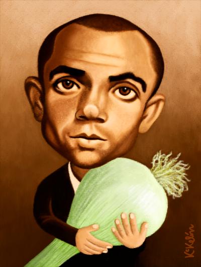 Caricatura de Miguel Hernández por Kikelin
