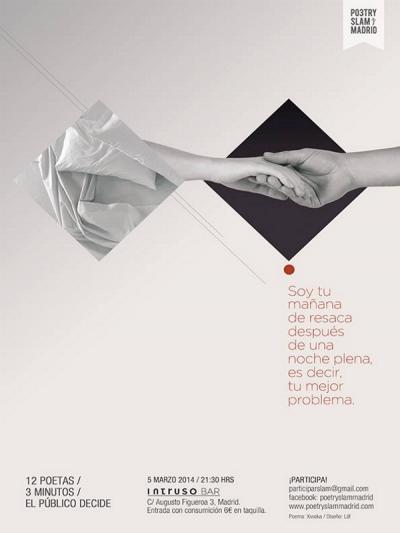 Cartel Poetry Slam de marzo en El Intruso Bar de Malasaña | Poema de Xiwaka | Diseño de Läb