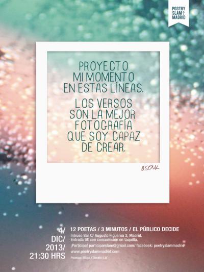 Cartel Poetry Slam Madrid de diciembre en El Intruso por Läf