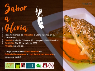 Tapa 'Sabor a Gloria' | Homenaje de Tribuetxe a Gloria Fuertes | Centenario Gloria Fuertes | 21 – 28/07/2017 | Tribuetxe | Lavapiés | Madrid | Cartel Paula de Sousa