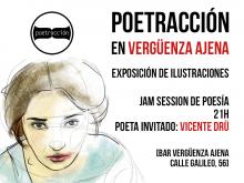 Exposición de ilustración 'Poetracción en Vergüenza Ajena Bar' | Cartel de Paula Díaz
