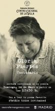 Lectura continuada de la poesía de Gloria Fuertes | Teatro Fernán Gómez Centro Cultural de la Villa | 14/05/2017 | Centenario Gloria Fuertes | Cartel