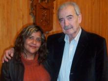 Sandra Paz con Juan Gelman en México en 2013